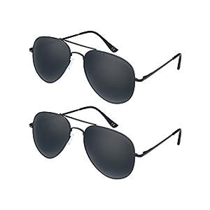 [Buy 1 Get 1]Elimoons Sunglasses for Men Women Aviator Polarized Metal Mirrored, UV400 Lens Protection, 2 Pack, Black/Black