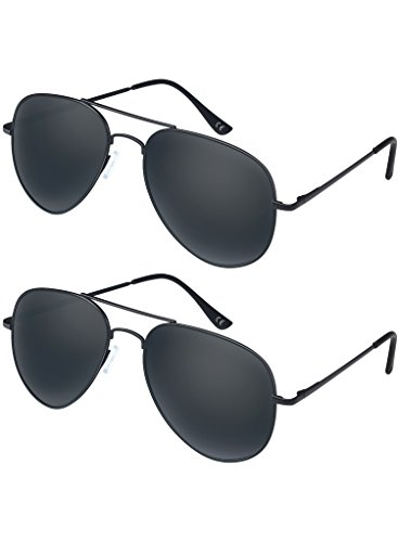 Elimoons Aviator Sunglasses for Men Women Polarized Mirrored UV 400 Lens Protection, 2 pack - Uv Protection Lens 400