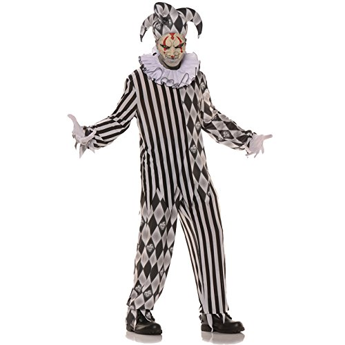 Underwraps Evil Harlequin Jester Adult Costume Black/White