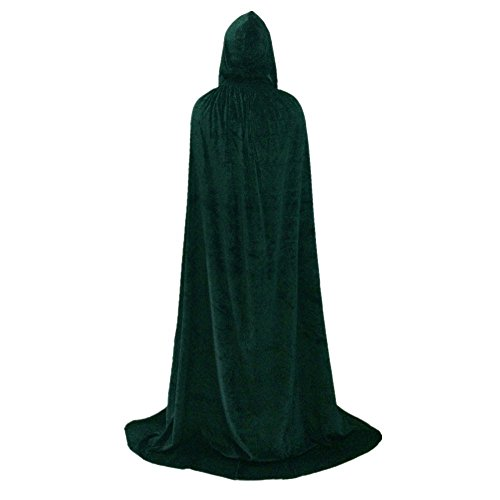 Hooded Cloak Halloween Cosplay Costume Full Long Thick Velvet Cape Green HC004GXL