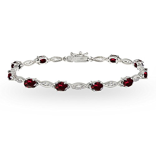 (GemStar USA Sterling Silver Created Ruby and White Topaz Oval-Cut Swirl Tennis Bracelet)