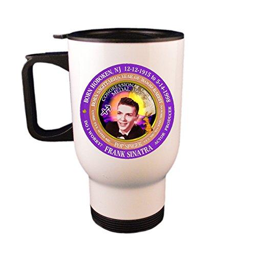 Frank Sinatra Singer Travel Mug / Cup, Astrology Sagittarius Zodiac Wood Rabbit