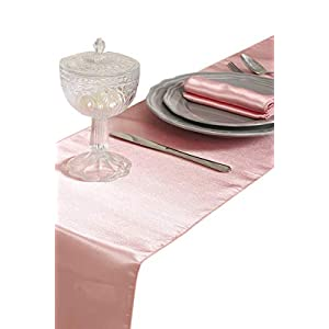 mds Pack of 10 Wedding 12 x 108 inch Satin Table Runner for Wedding Banquet Decoration- Blush Pink 1