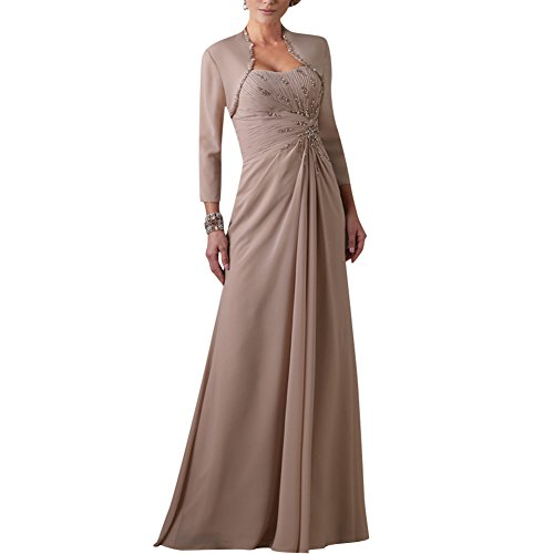 H.S.D Beads Mother Of Bride Dress Pleated Formal Gowns With Jacket Bolero
