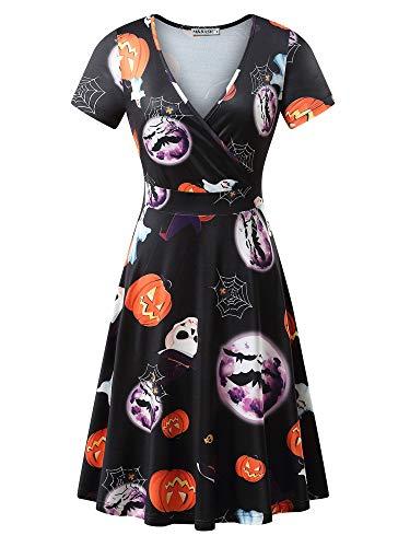 MSBASIC A-line Dress, Womens Halloween Costume Midi Wrap Dress (Black, XX-Large)]()
