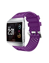 Watch Bands for Fitbit Ionic, MoreToys Silicone Sports Replacement Accessories Wristband Strap for Fitbit Ionic Smartwatch (Purple)