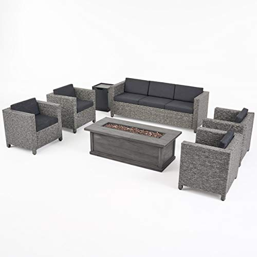 Great Deal Furniture Simona Outdoor 7 Seater Wicker Chat Set with Fire Pit, Mix Black and Dark Gray (Conversation Pit Patio Propane Sets Fire With)