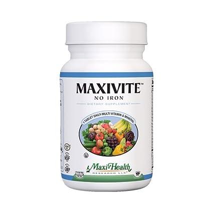 Maxi-Health Research Kosher Vitamins - Minerales & vitaminas Maxivite diario no suplen hierro