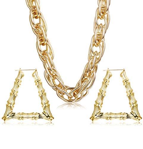 Hanpabum Gold Plated Chunky Rope Chain Necklace and Large Hollow Casting Triangle Bamboo Hoop Earrings Set for Men Women Costume Jewelry Punk Hip Hop Rapper Style  by Hanpabum