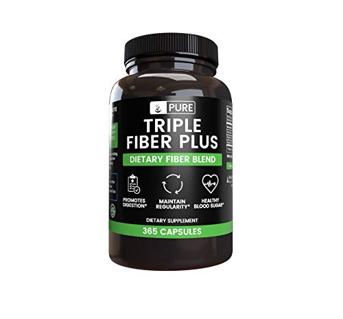 All-Natural Triple Fiber Plus |70-Day Supply |365 Capsules |No Magnesium or Rice Fillers, Vegetarian, Gluten-Free, Soluble, Made in The US, 2,375mg Flax Meal, Psyllium Husk & Acacia Fiber per Serving