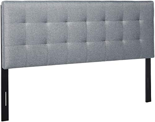 POLY & BARK EM-297-GRY Guilia Square-Stitched Headboard, Queen Size, Gray