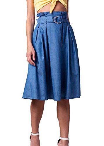 t Plisse Midi Jupe Femme Casual Denim Jupe de Plage Fashion Haute Taille Jupes de Fte Soire Gala Bleu