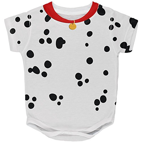 Halloween Dog Dalmatian Costume Red Collar All Over Baby One Piece Multi 12 Month (Baby Dalmatian Costume)
