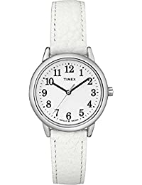 Timex Women's TW2R29600GP Fashion Classics White Dial White Leather Strap Watch