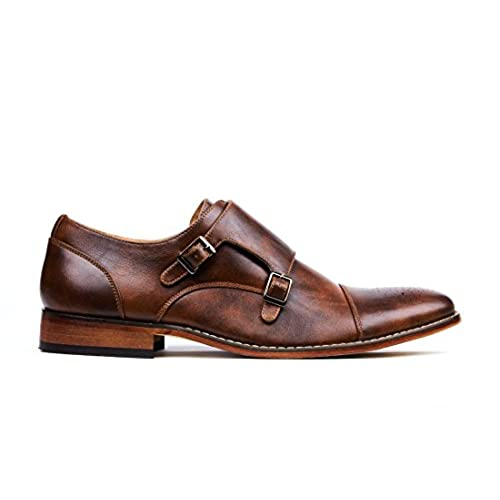 Gino Vitale Men s Double Monk Strap Cap Toe Brogue Dress Shoes chic ... 057cd09dcb9