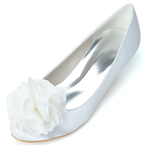 Wedding Shoes White Silk Wedding Shoes Women's L Closed To 900 Mid Lace YC 02 Dress wX6BPq