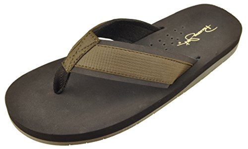 Panama Jack Men's Coastline Comfort Casual Flip Flop Sandal, Dark Brown, X-Large/12-13