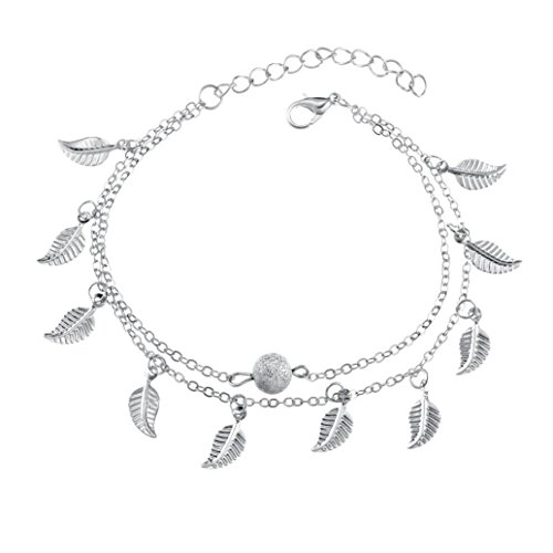 Hatoys Fashion Women Girls Crystal Jewelry Leaves Charm Bracelet Bangle Anklet (Silver)