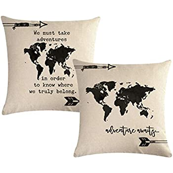 Amazon Com 7colorroom World Map Throw Pillow Covers With
