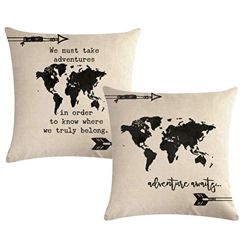 7COLORROOM World Map Throw Pillow Covers with Adventure Awaits Arrow Decorative Cushion Covers Inspirational Quotes Pillowcase 1818,2Pack for Sofa,Couch,Bed (World Map)