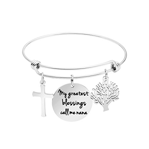 Awegift Bangle Bracelet for Mom Engraved Stainless Steel Charm Jewelry Gift for Mother's Day Expandable Wire