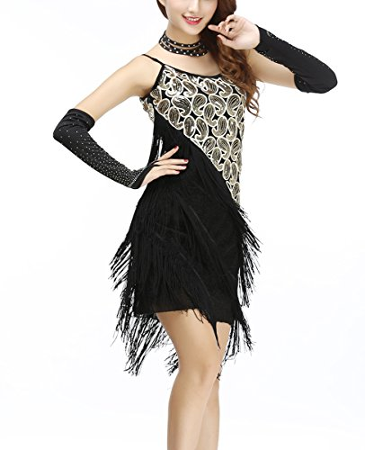 Whitewed Fringe Roaring 20's Twenties Flapper Dresses Costumes Outfit , Black/gold, 10/12 - Flapper Dress Outfit