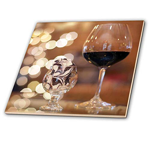 3dRose Stamp City - Still Life - Photograph of a Glass of red Wine and Some Tasty Toffee in a Glass. - 6 Inch Glass Tile (ct_302461_6)