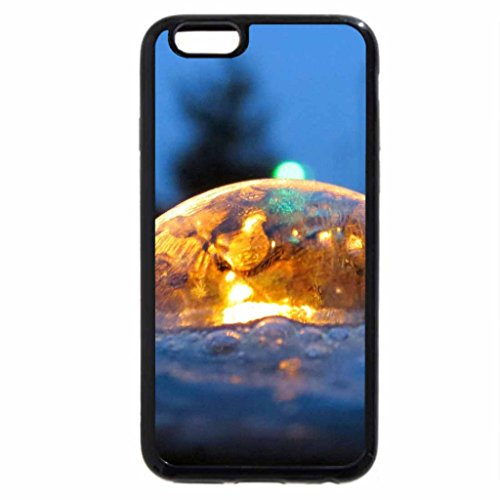 iPhone 6S Case, iPhone 6 Case (Black & White) - Winter Evening Fun Freezing Bubbles