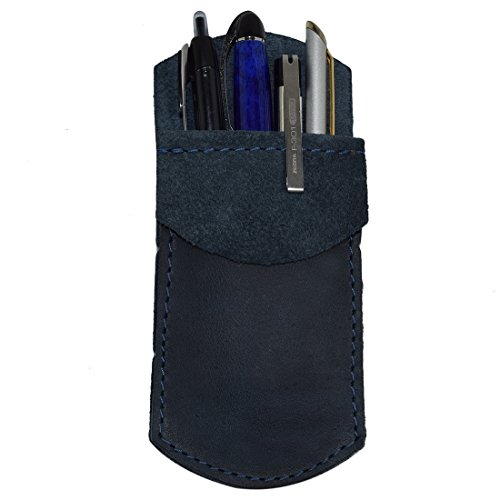 Durable Leather Pocket Protector/Pencil Pouch/Office & Work Essentials Pen Holder Handmade by Hide & Drink :: Slate Blue ()