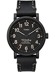 Timex Mens Waterbury | Black Dial & Leather Strap Date | Casual Watch TW2P59000