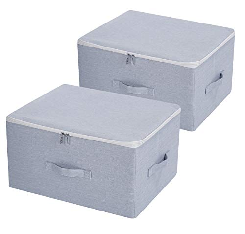 Dust Proof Closet Clothes Storage Boxes with Zippered Lid, Breathable Fabric & Collasible Design for Seasonal Garment Organization, Light Gray, 2 pcs