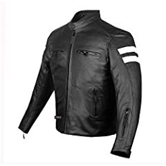 Made of 1.2mm cowhide leather           Reflective stripes on sleeves and back           Side waist adjustments          Four front zipper pockets           Sleeves pocket           Removable inside quilted full sleeves liner...