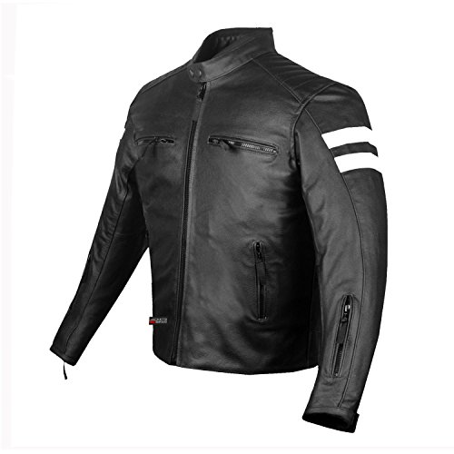 New AXE Men's Leather Jacket Motorcycle Armor biker safety L