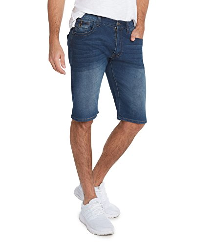 Shorts Mens Crown (9 Crowns Men's Stretch Fit Slim Leg RD Denim Shorts Blue Flap Pocket-36)