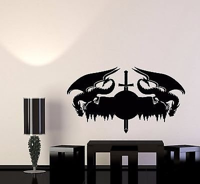 Amazon.com: Wall Decal Dragons Serpent Beast Symbol Sword ...