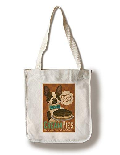 Lantern Press Boston Terrier - Retro Cream Pie Ad (100% Cotton Tote Bag - Reusable)