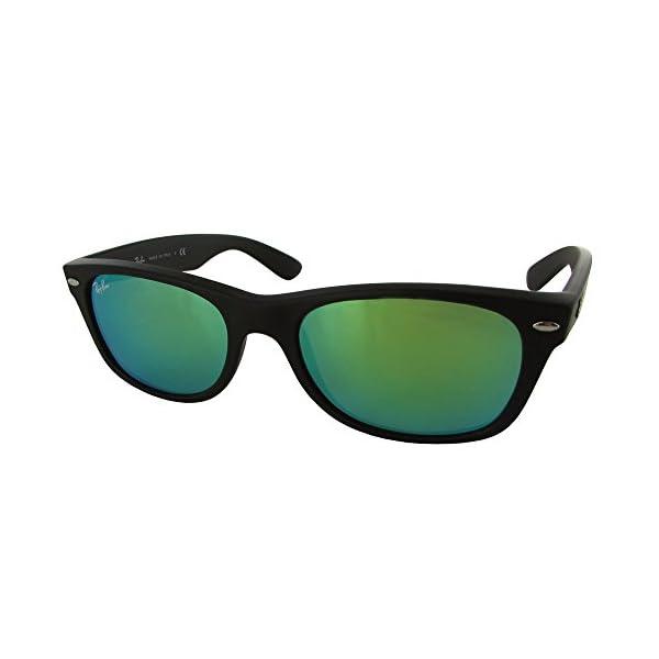 Ray-Ban-NEW-WAYFARER-RUBBER-BLACK-Frame-GREY-MIRROR-GREEN-Lenses-52mm-Non-Polarized