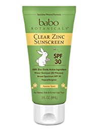 Babo Botanicals SPF 30 Clear Zinc Lotion - 3 Ounces, Best Natural Mineral Sunscreen, Non-Nano, Sensitive BOBEBE Online Baby Store From New York to Miami and Los Angeles