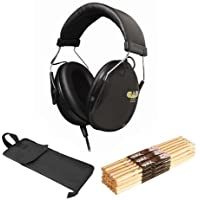 CAD DH100 Drummer Headphones OnStage MW5A Maple Sticks w/Wood Tips 12 Pair & Bag