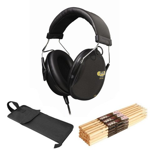 (CAD DH100 Drummer Headphones OnStage MW5A Maple Sticks w/Wood Tips 12 Pair & Bag)