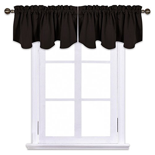 NICETOWN Blackout Draperies Window Valances - 52-inch by 18-inch Scalloped Rod Pocket Short Curtains, Toffee Brown (2-Packs)