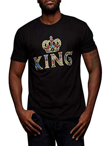 Crown Mens T-shirt - Gtealife Mens African Print Dashiki T-Shirt King Crown Short Sleeve Tops Black
