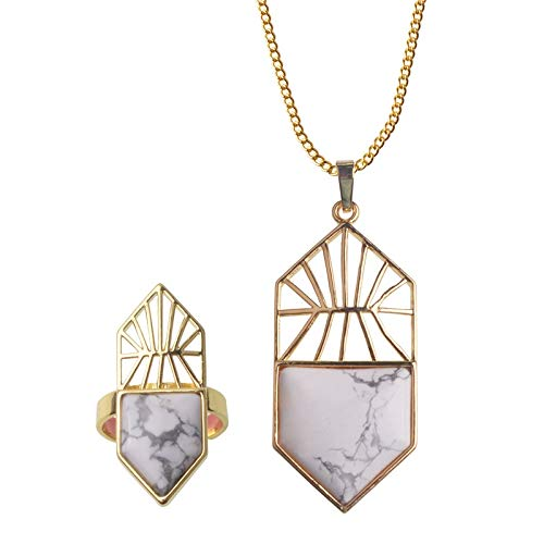 Women's Necklace Pendant Ring Set | Crystal Jewelry Set | Women's Necklace Pendant ()