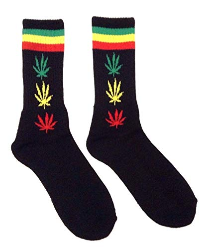 Black Rasta Striped Weed Leaf Crew Socks (Rasta Weed Socks)