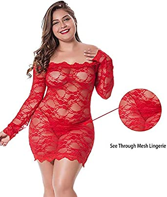 LINGERLOVE Womens Regular and Plus Size Chemise Floral Lace Off Shoulder See Through Bodysuit Lingerie