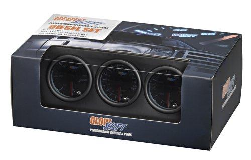 GlowShift Tinted 7 Color Series Diesel Gauge Set Boost, Pyrometer, Trans Temp