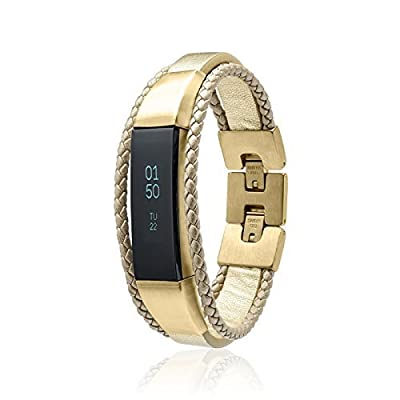 Fitbit Alta Band Aurel - Gold - stainless steel and real leather - Jewelry for Fitbit Alta - Fitbit Alta Band - Fitbit Alta Accessories - Fitbit Alta Leather Band (No Tracker)