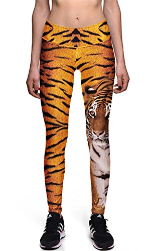 Ayliss Women Digital Print Leggings Stretch Tight Pant Ninth Pants (XXL, #5 Tiger)