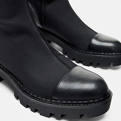 Shiney Mujer Invierno Estiramiento Parte Gruesas Cabeza La En Con De Botas Black Para Redonda Otoño Altas Inferior Rodilla ravCrRqtwg