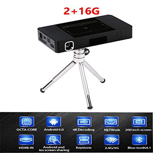 TIAOTIAO Mini Portable Projector, Video DLP Home Cinema Pocket Projector HD Support 1080P HDMI Input Built-in Rechargeable Battery Dual Stereo LED,2G+32G Bluetooth